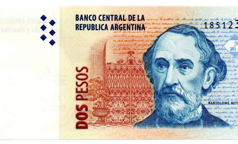 billetes, moneda, dos pesos